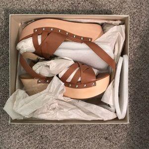 Nude/tan wedge sandals